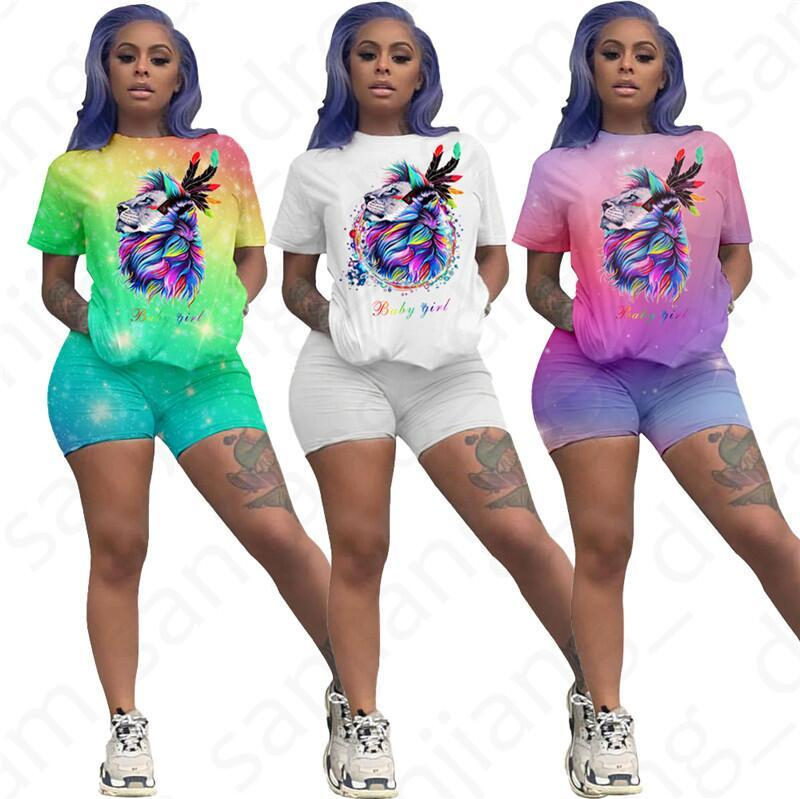 Women Summer Shorts Set Outfits Dazzling Lion Print Short Sleeve Crew Neck T-Shirt Tees Shorts Pants Tracksuit Sexy Night Club Clothes D4704