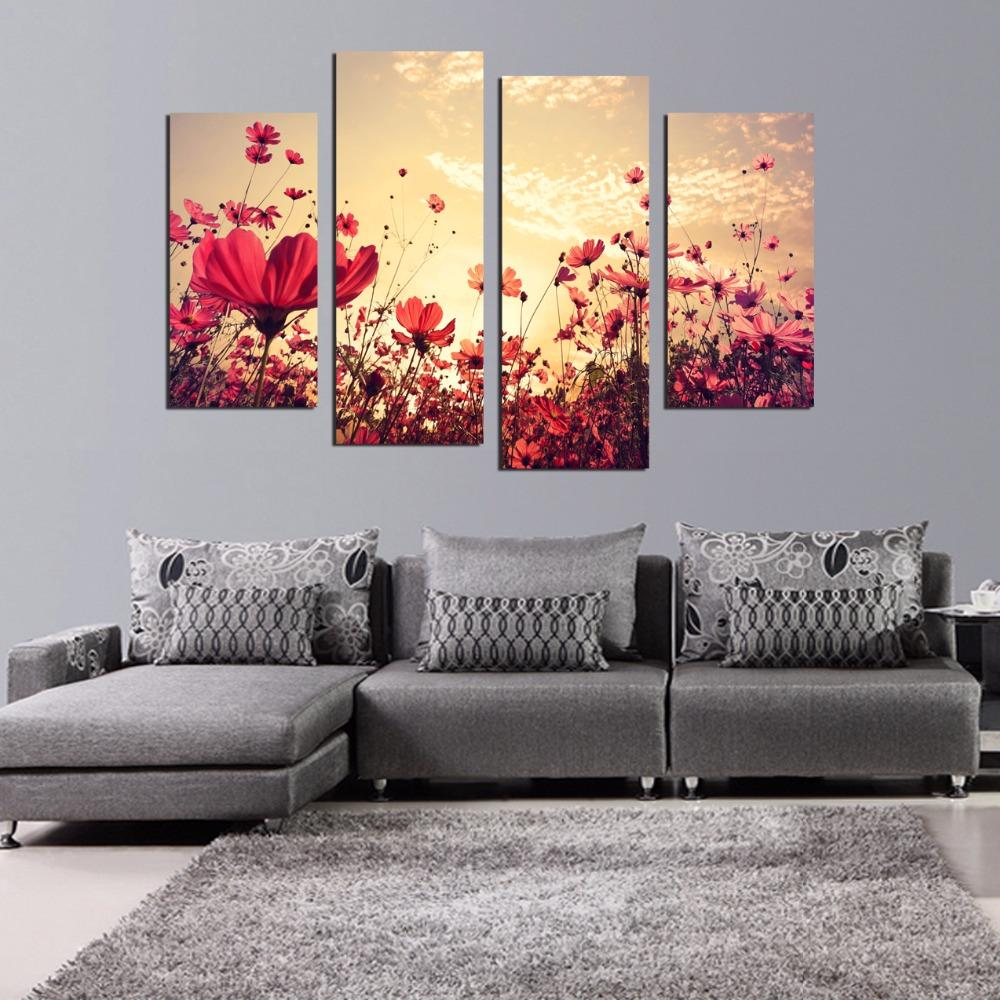 Modern 4 Pcs Forest Seasons Red Flowers Trees Canvas Print Spray Painting For Living Room Wall Art Pictures Home Decor Unframed