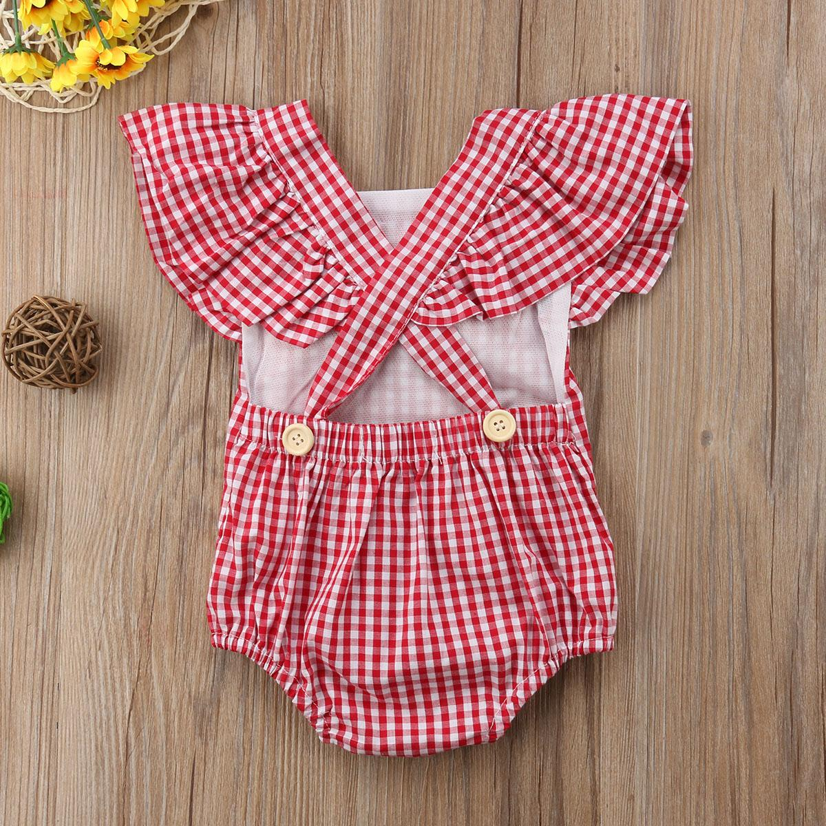 2018 Summer Fashion Newborn Baby Kids Girl Grid Romper Jumpsuit Playsuit Sunsuit Striped Outfits Clothes Set
