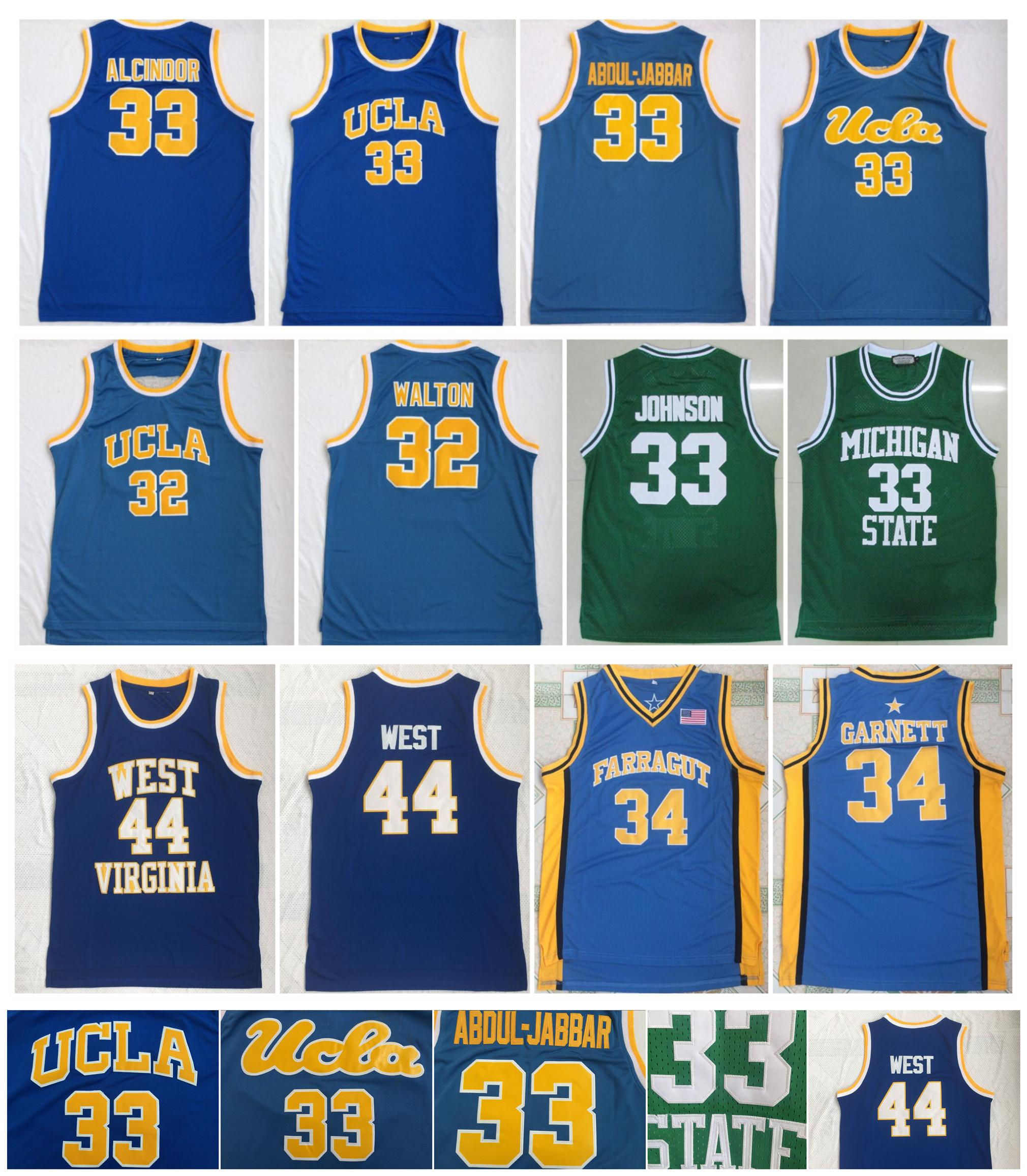 NCAA College Basketball Jerseys Kareem Abdul Jabbar UCLA Bruins Jersey Bill WALTON Michigan Earvin Johnson Jerry West Kevin Garnett Virginia