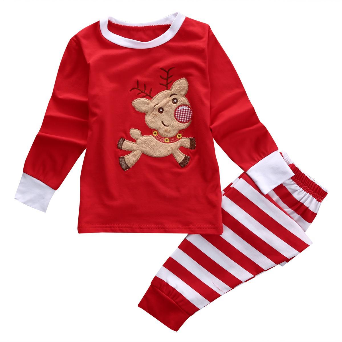 XMAS sveglio caldo dei capretti ragazze del neonato Deer Sleepwear Pajamas Set da notte Childem Set Regali di Natale