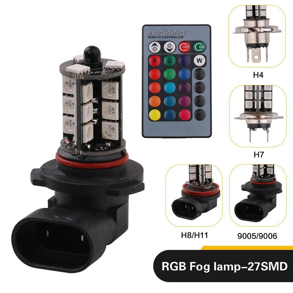 2pcs H4 H7 H8 H11 9005 9006 LED RGB LED Frente Car Auto nevoeiro 27SMD colorido Lâmpada Strobe Head Lamp com controle remoto
