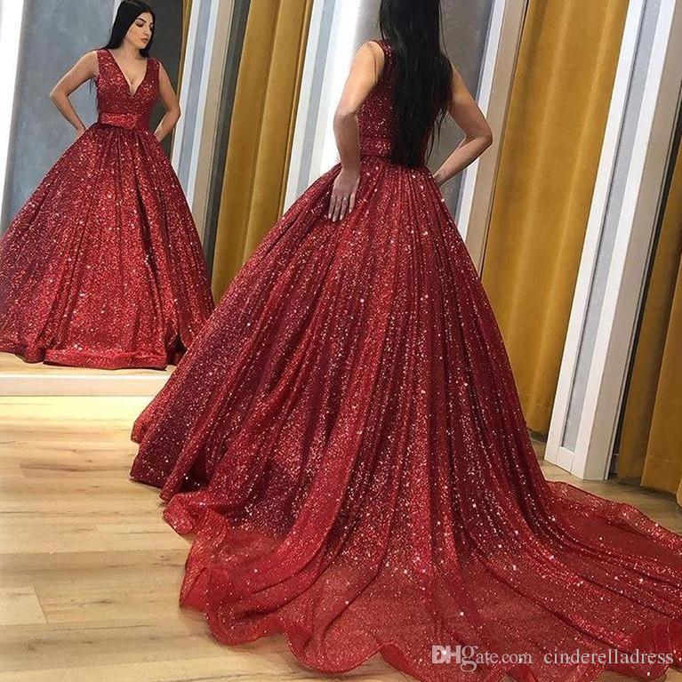 Sparkly Dark REd Chapel Train Prom Dresses 2019 Plunging V Neck A Line Open Back Arabic Sequin Evening Wear For Sweet 16 Quinceanera Dress