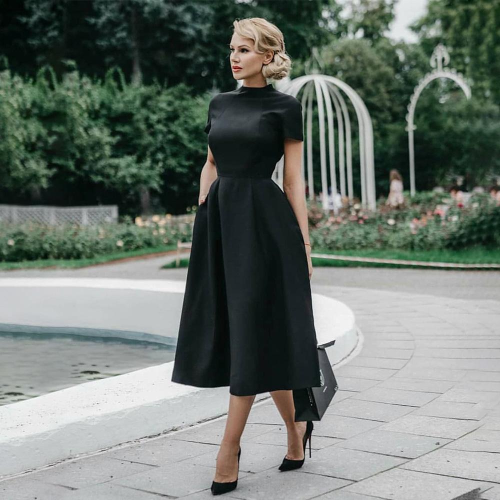 Haute qualité élégante robe noire Femmes Vintage Ladies Fit et Flare Party Prom Night formelle Robe rétro 2019 Robes d'hiver D25 CX200615