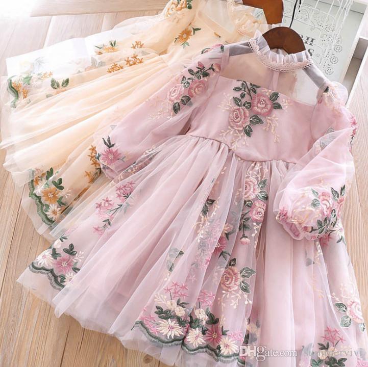 Chicas encaje gasa flores bordados vestidos primavera niños floral tulle princesa vestido niños volante collar de manga larga ropa f404