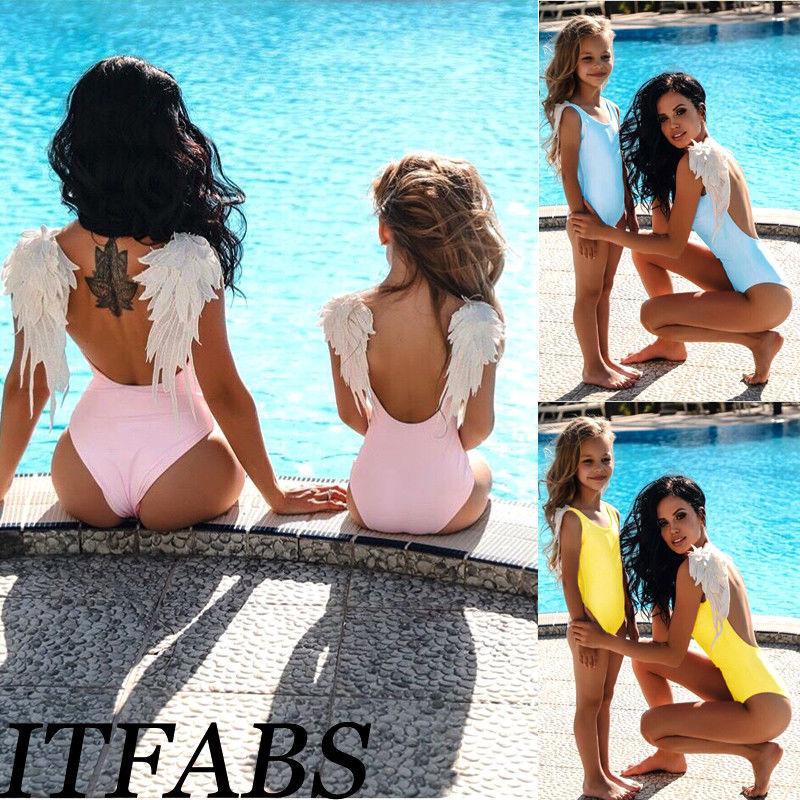 Matching Família Swimwear Mãe Filha Mulheres Criança Bebés Meninas Swimsuit Bikini