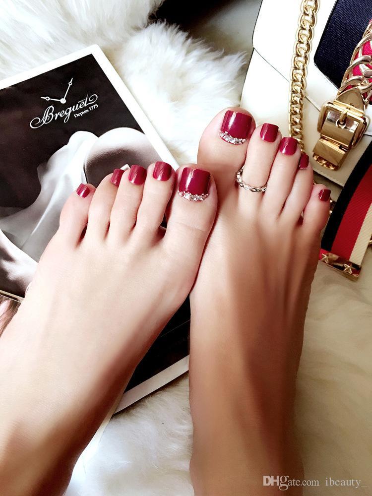24 Pcs/Set Style Toe Fake Nails Foot Full Toes Nail Art Tips False Nails for Girls Toenails Press on Nail