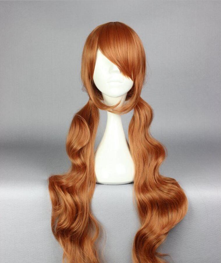 WIG Hot partido resistente ao calor de cabeloNew Moda 90 cm Longo Curto Castanho Yurikuma Arashi Partido Cosplay Peruca cheia