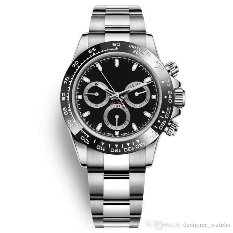 Tam Paslanmaz Çelik Japonya VK64 kronograf Hareket Erkek İzle 5ATM su geçirmez Parlak Dalgıç montre luxe moda izle mens