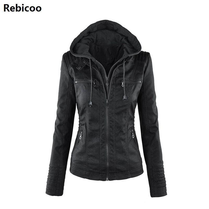 Gothic faux leather Jacket Women hoodies Winter Autumn Motorcycle Jacket Black Outerwear faux leather PU 2018 Coat HOT