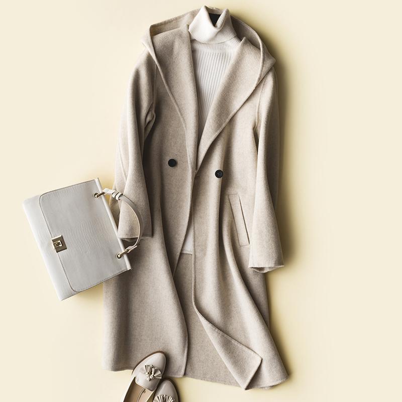 Abrigo de lana ropa de las mujeres 2019 Escudo de la hembra larga delgada de las mujeres chaquetas de invierno y abrigos de lana ZY1333 Moda Otoño Trench
