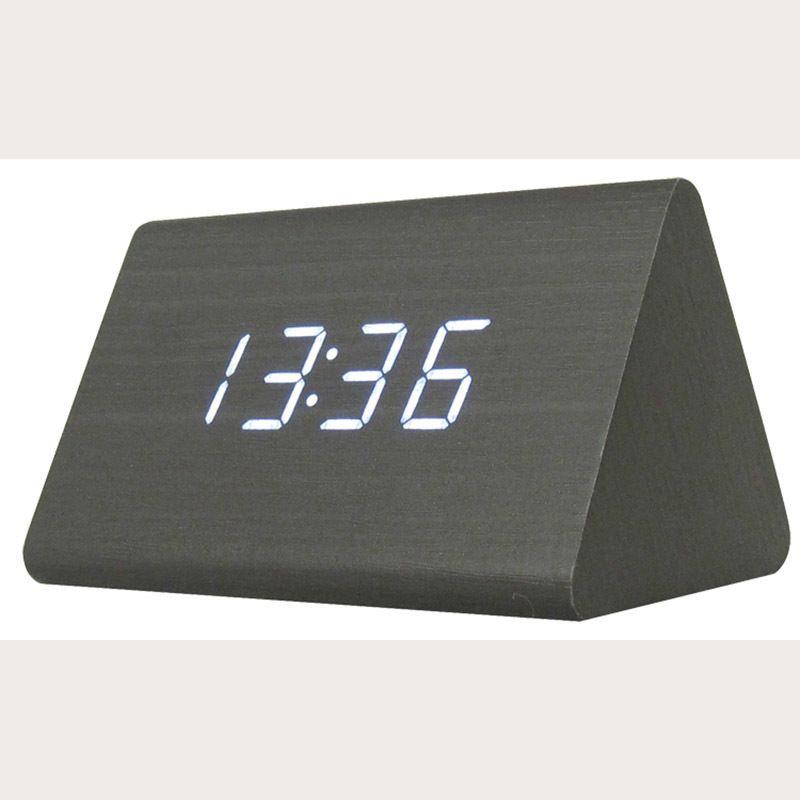 الصمام الرقمي الأسود الخشب المثلث المنبه الجدول مكتب ساعة مع التحكم الصوتي الحرارة الساعات الإلكترونية Y19062103