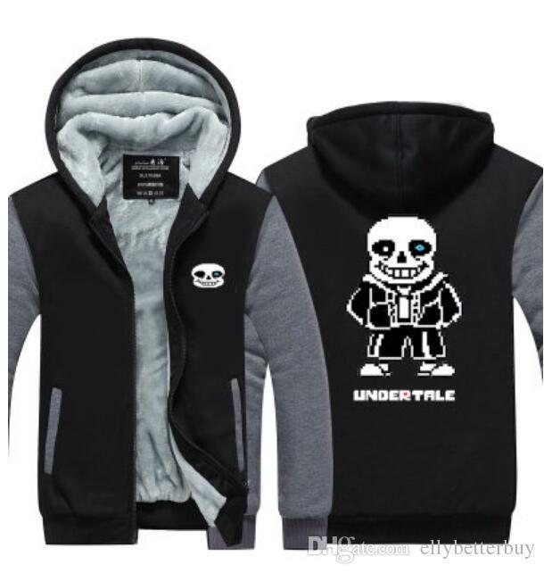 Winter Undertale SANS Gorillaz Скелет Hoodie Zipper Jacket отдыха фуфайки сгущает Кардиган пальто с длинным рукавом Спортивные костюмы Пуловеры Топы