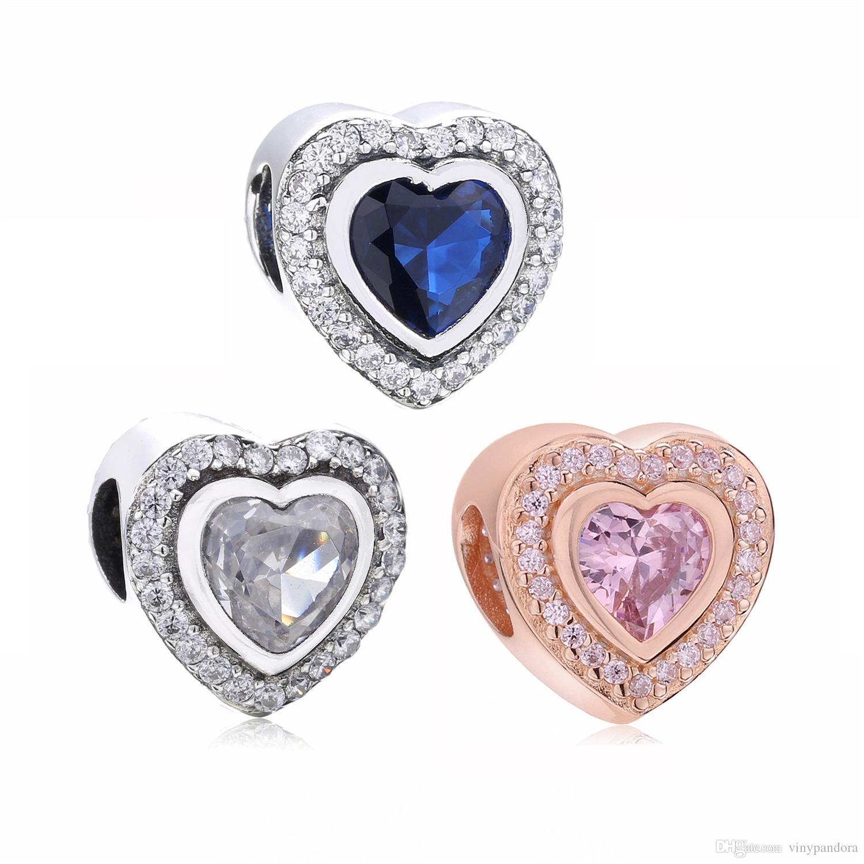 Autentica perlina scintillante con cuore in argento sterling 925 per braccialetti con ciondoli per gioielli Pandora europei
