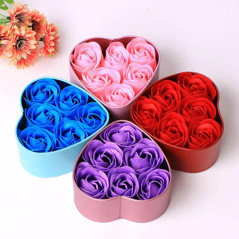 6 шт. душистые лепестки розы подарок ванна мыло для тела Цветок подарок свадьба пользу с коробкой формы сердца
