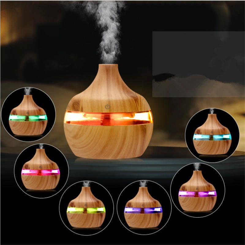 200ml Aroma difusor de aceites esenciales humidificador ultrasónico 7 colores LED de luz de madera del grano purificador Oficina Para el hogar dormitorio bebés Appliance