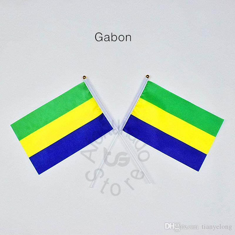GabonBanner 10 Peças / lote 14x21 cm Bandeira 100% Bandeiras De Poliéster Com Plástico Mastros Para Celebração Decoração Gabão