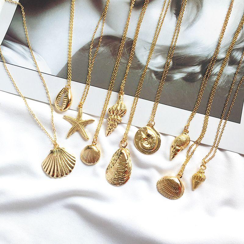 Мода Золотой Цвет Сплава Cowrie Shell Ожерелье для Женщин Ожерелье Цепи Кулон Лето Ювелирные Изделия Морской Воротник