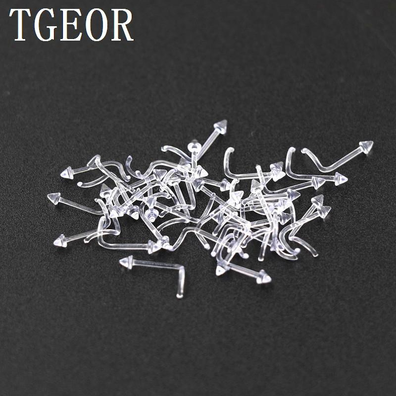 Free shipping new wholesale 20G 50pcs nose stud spike fish tail transparent clear acrylic piercing retainer nose ring