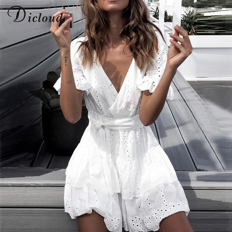 도매 화이트 자수 코튼 드레스 여름 여성 짧은 소매 캐주얼 비치 Sundress 섹시한 V 넥 중공업 미니 드레스