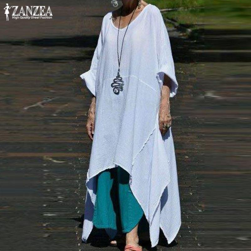 ZANZAE Mode Asymmetrische Kleid Frauen Sommer Sundress 2019 beiläufige 3/4 Hülsen-Midi Vestidos Female O Ansatz Robe Femme