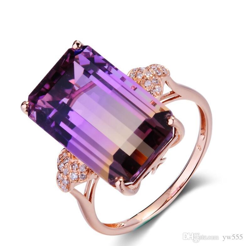 anel de micro-set europeu e americano subiu de cor de ouro jóias de pedras preciosas mão
