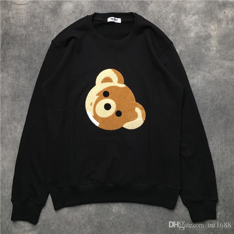 2019 شتاء جديد رجل طويل كم قميص مطرزة الدب الصغير القطن مقنع هوديس الرجال النساء البلوز الذكور البلوز