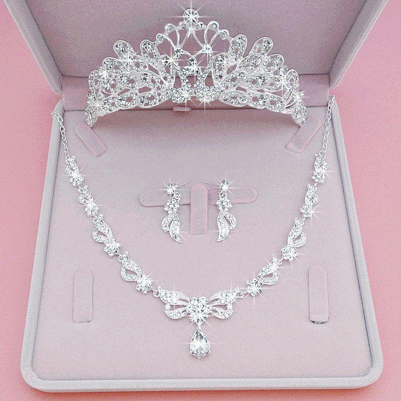 3 adet Set Gelin Taç Headdress 2020 Prenses Saç Süs Avrupa ve Amerikan Inciler Çiçekler Daire Süper Evlilik Takı Saç Hoop