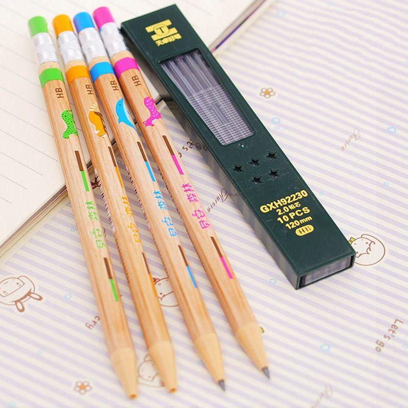 1Pcs Cartoon Animals Mechanical Pencil With Sharpener 2.0 Mm Lead Refill Pencil Automatic Colors Random