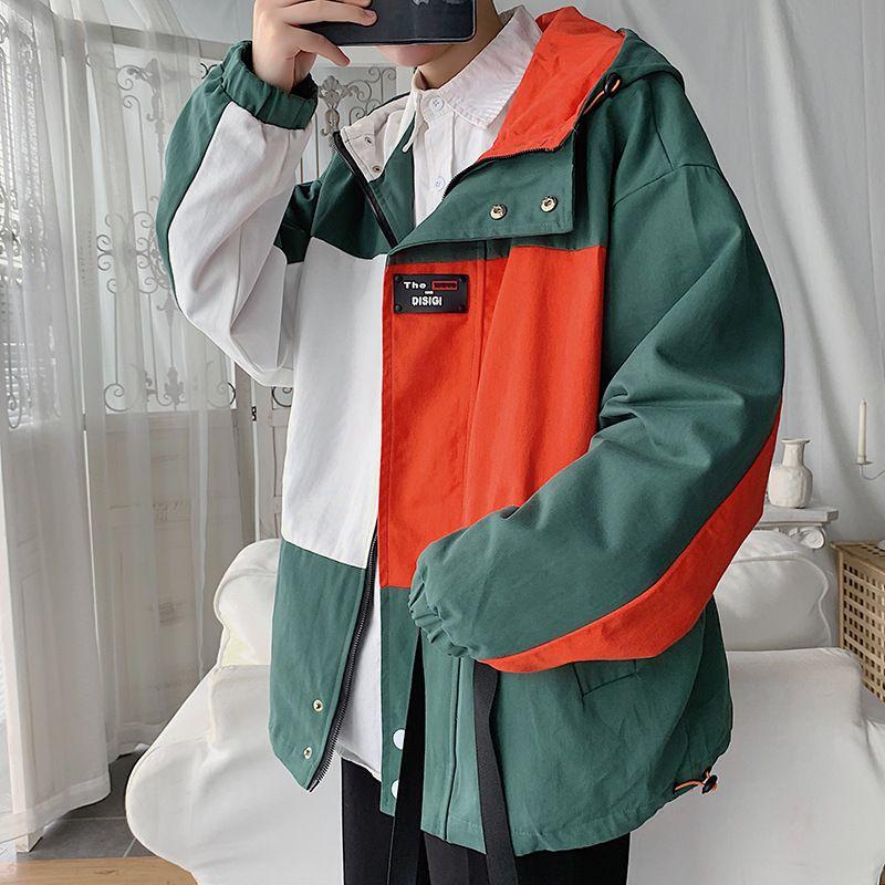 Herbst-Winter-Mantel mit Kapuze Männer im koreanischen Stil lässigen Hong Kong Stil INS Mode Vielseitig und Arbeitskleidung Multitaschen Joint Cont
