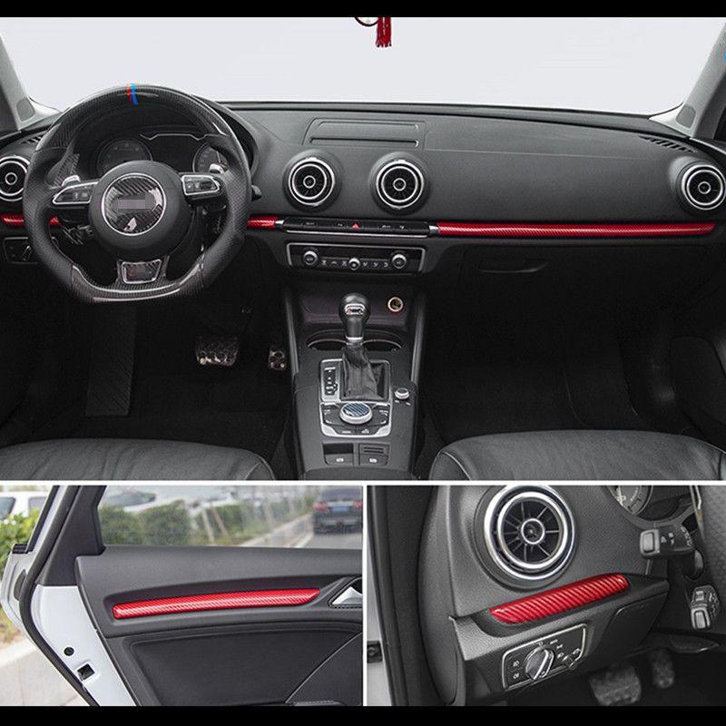 Centre de Style voiture Console Tableau de bord Garniture de décoration de porte de voiture en fibre de carbone Garniture couverture Autocollant Pour Audi A3 8V S3 Auto Accessoires