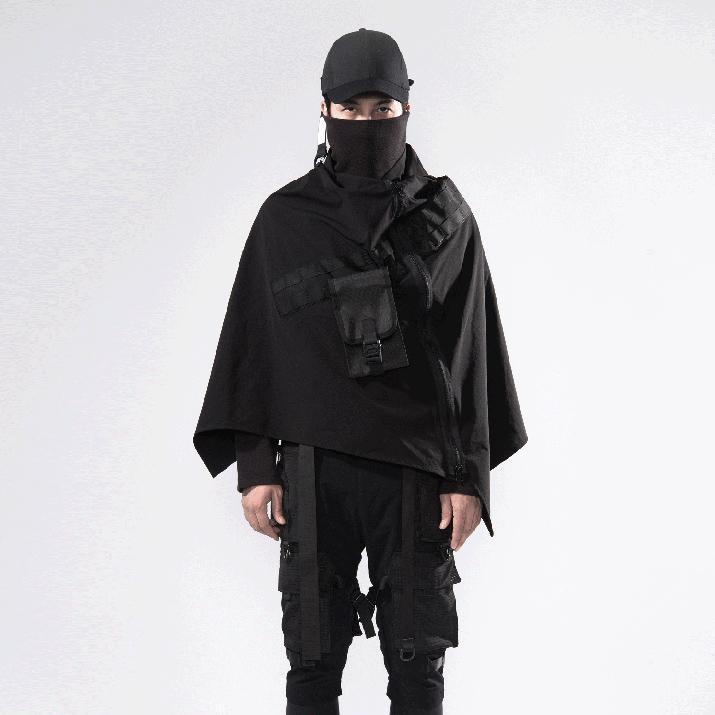ALUMNO VIAJES techwear del poncho del cabo táctica capa estilo cibernético
