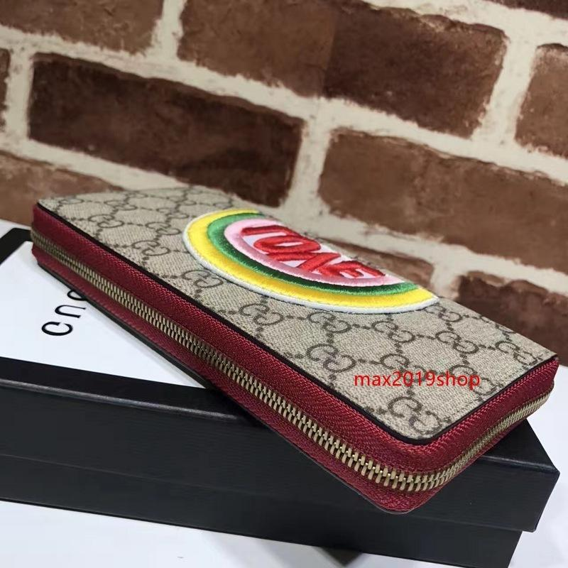 2020 neue hochwertiger Star Design Brief Stickerei Liebe Reißverschluss Brieftasche Canvas-Rindleder schwarz 476.413 Lange Tasche Clutch