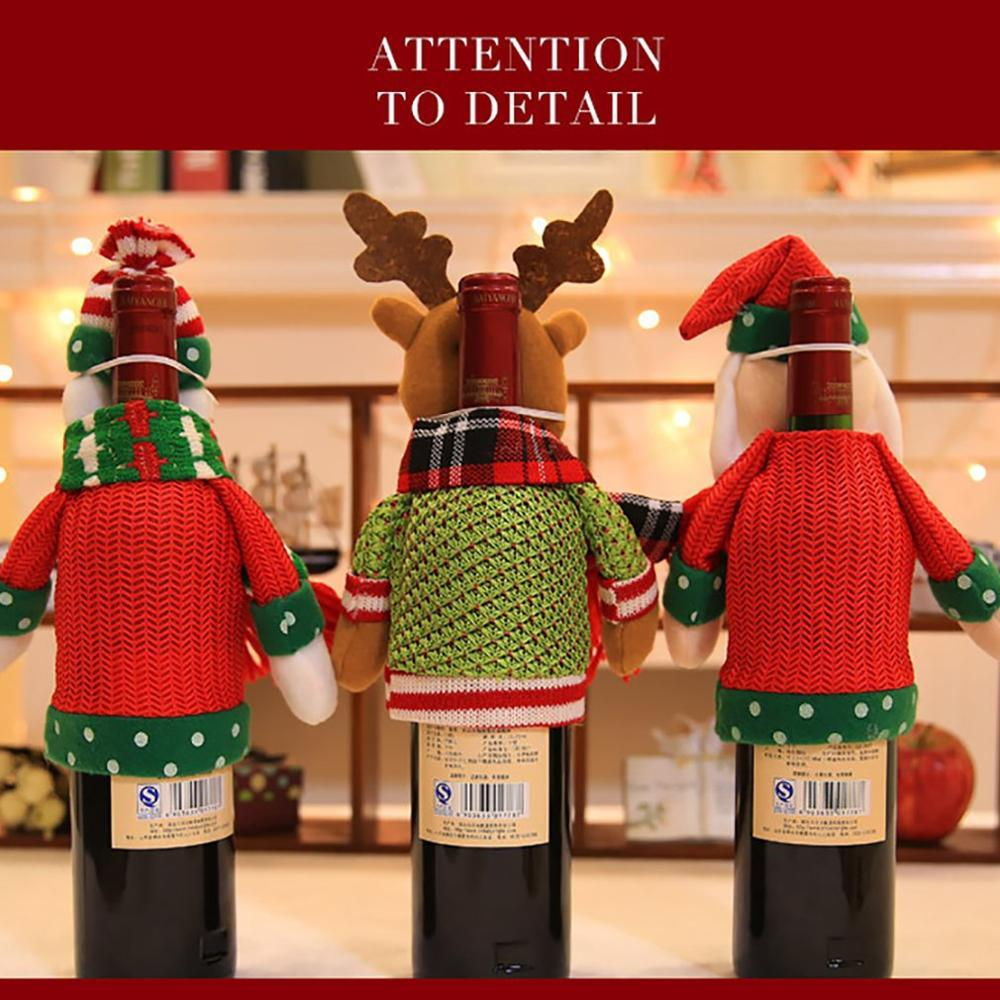 Christmas Home Decoration Items Christmas Red Wine Bottle Set Christmas Doll Champagne Bottle Set Wine Bottle Decoration Xmas Decorations Sale Xmas