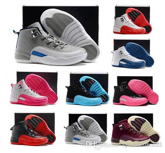 Chaussures de sport pour enfants Outdoor Sport Chaussures meilleure qualité Discount Chaussures de basket-ball gris foncé Gym Red Wings WhitePink Chaussures de sport cadeau d'anniversaire