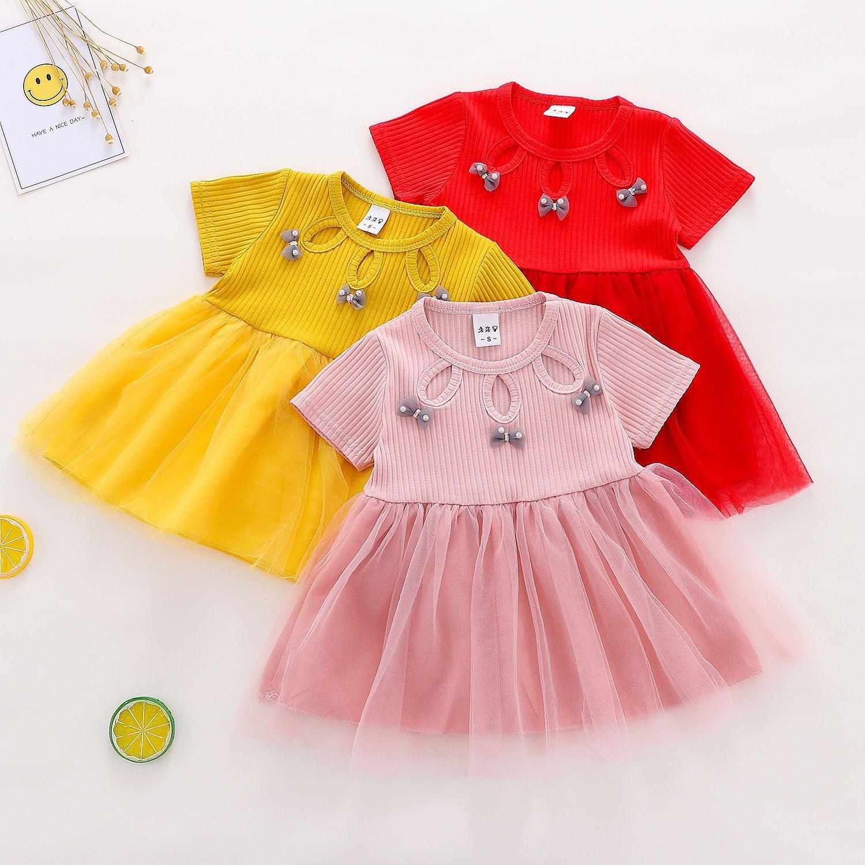 vestidos de las muchachas del verano 2019 Vestido de la princesa del bebé del bebé de Corea malla sin mangas de la ropa del vestido vestido de los niños de moda infantil para niñas