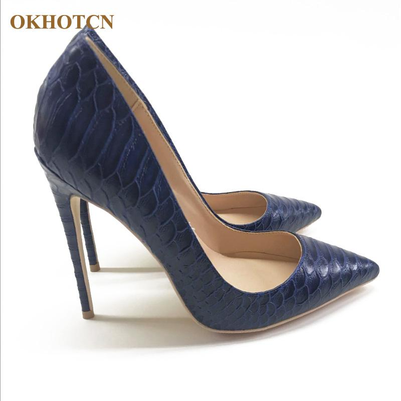 c19f872175f New Arrivals Spring Social Shoes Woman Dark Blue Snakeskin Pattern Shallow  High Heels Pumps Pointed Toe 12cm Heel Lady Shoe Prom Shoes Hiking Shoes ...