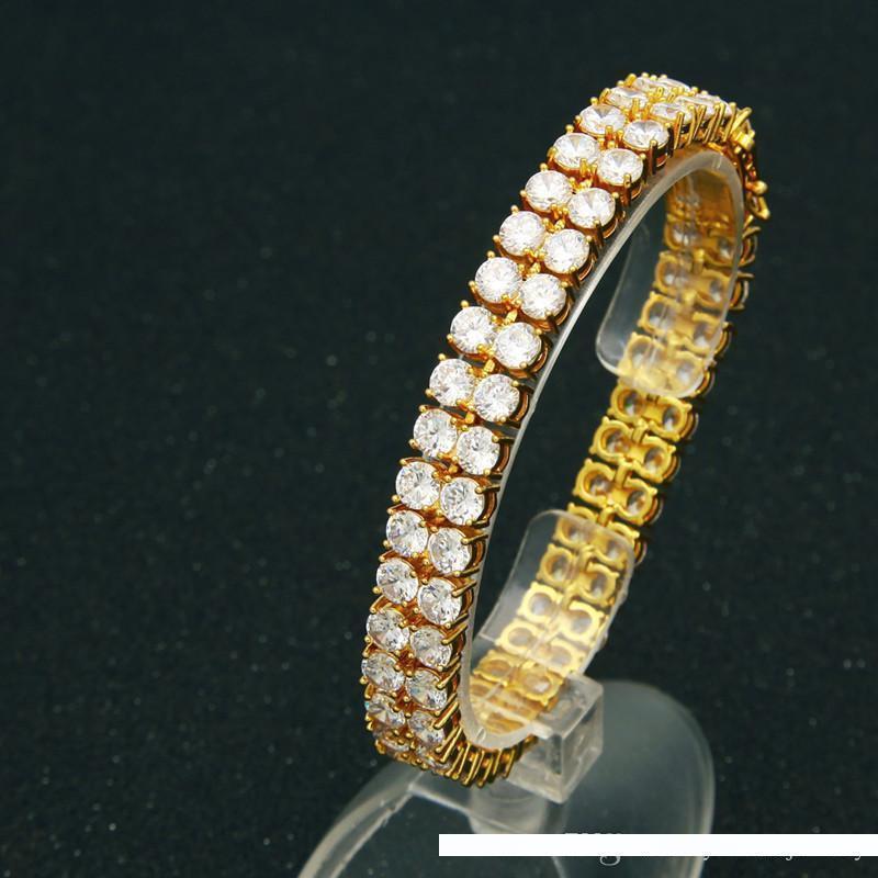 Erkekler Moda Serin Hip Hop Bilezik Bağlantı Zinciri için 10MM 21.5CM Sarı Altın Gümüş Renk buzlu Out CZ Zincir Bileklik