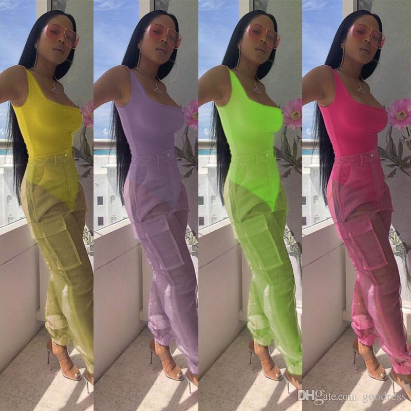 Mamelucos mujeres atractivas del organza de pantalones largos de dos piezas Conjunto Bodies ven a través de los pantalones de bolsillo bodycon monos juego de la ropa de playa fiesta del verano
