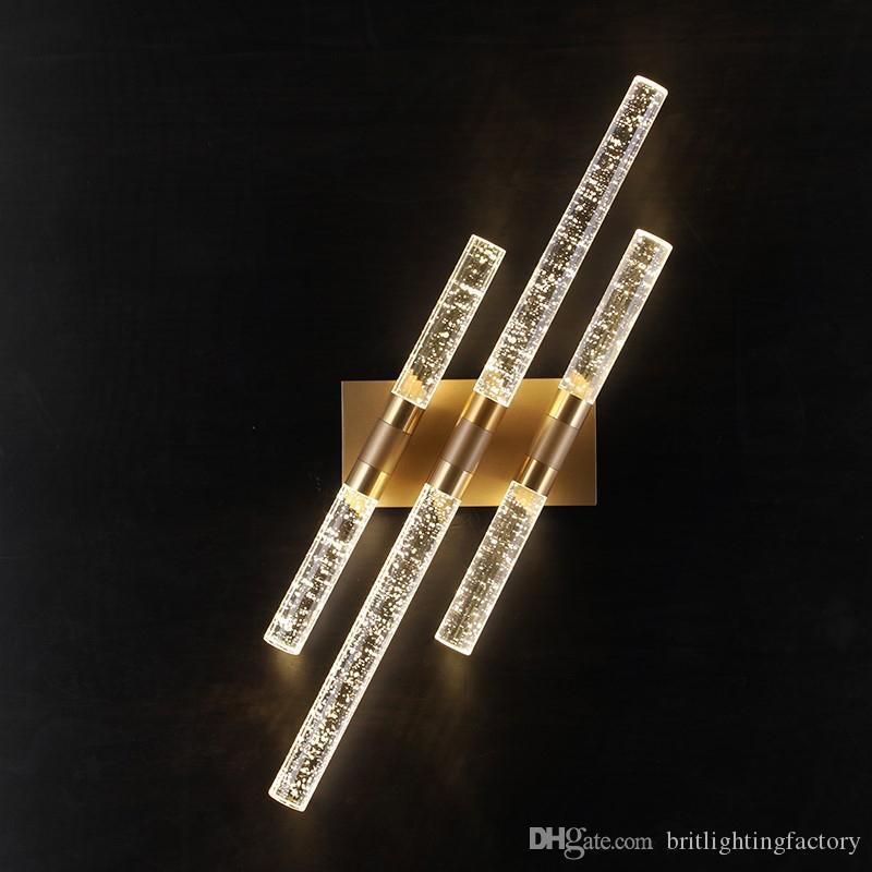 İskandinav led Duvar Işıkları Oturma Odası Arka Plan Duvar Lambası Modern Minimalist Kristal Duvar Lambaları Yaratıcı Yatak Odası lamba Koridor Ayna Farlar