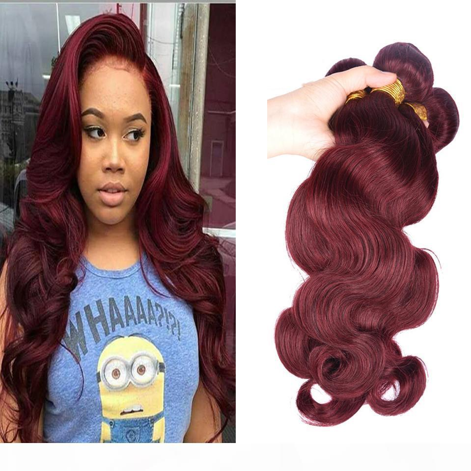 Brazilian Body Wave Human Virgin Hair Weaves Ombre Burgundy 99J Color Double Wefts 100g bundle 3Bundles lot 4Bundles lot Hair Extensions