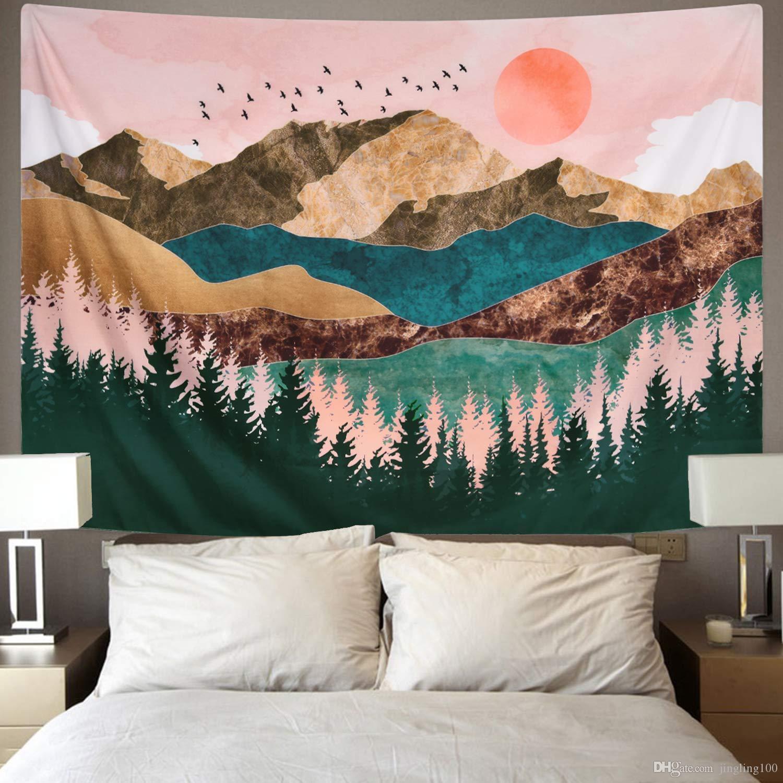 2019 nuova pittura paesaggio di montagna Tapestry Wall Hanging Nero Bianco Hippie sottile panno Arazzo Coperta in poliestere copriletto Tovaglia
