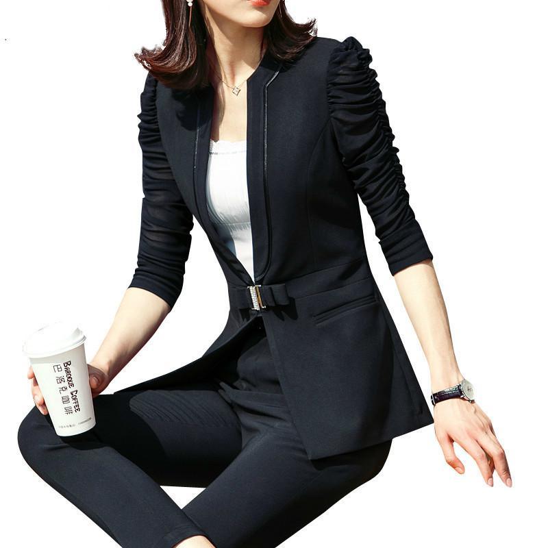 Yeni Kadın Takım Elbise Yarım Kollu Blazer Ince Zarif Iş Ofis Röportaj Iş Elbisesi Pantolon Kostüm Femme Tops Ve Bluzlar