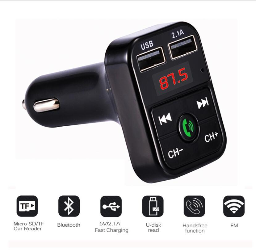 Cheap CAR B2 B3 E5 Multifunction Bluetooth Transmitter 2.1A Dual USB Car charger FM MP3 Player Car Kit Support TF Card Handsfree