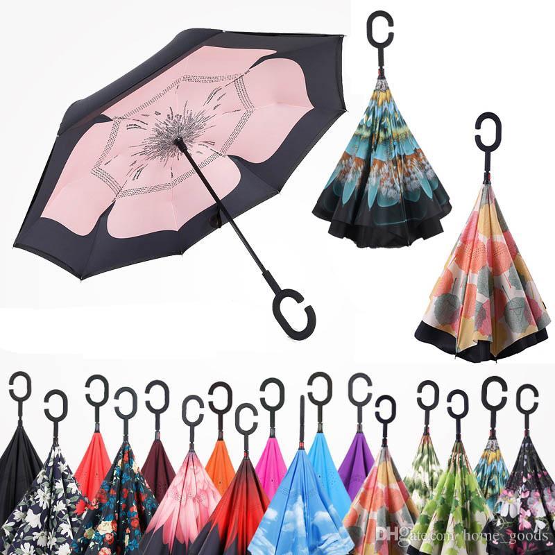 مظلة عالية الجودة بالجملة C مقبض المظلات صامد للريح عكسي للطي طبقة مزدوجة مقلوب مشمس ممطر مظلة موقف مجانية C-هوك