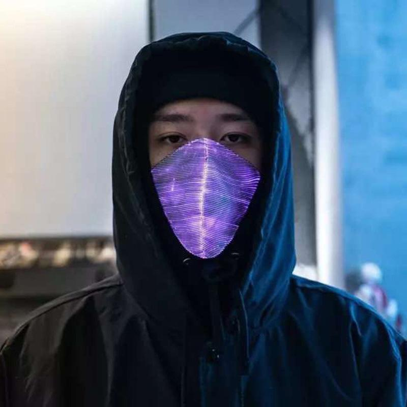 Erkekler Kadınlar Rave Maske Müzik Parti Noel Cadılar Bayramı Işık Yukarı Maske için maske 7 Renkler Parlak Işık Yanıp sönen LED