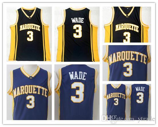 Baloncesto Marquette Golden Eagles Dwyane Wade Jerseys Hombres Baloncesto Deporte Equipo Azul marino Negro Uniformes de la Universidad de NCAA