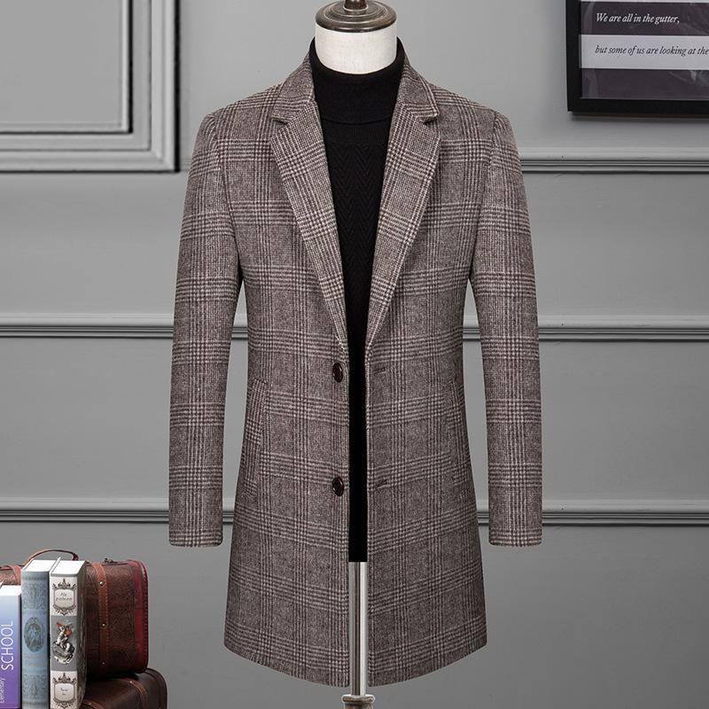2019 Brasão Outono E Inverno Novo Estilo Homens de lã Trench estilo coreano Moda Slim Fit manta Mid-comprimento do revestimento dos HOMENS de Trench
