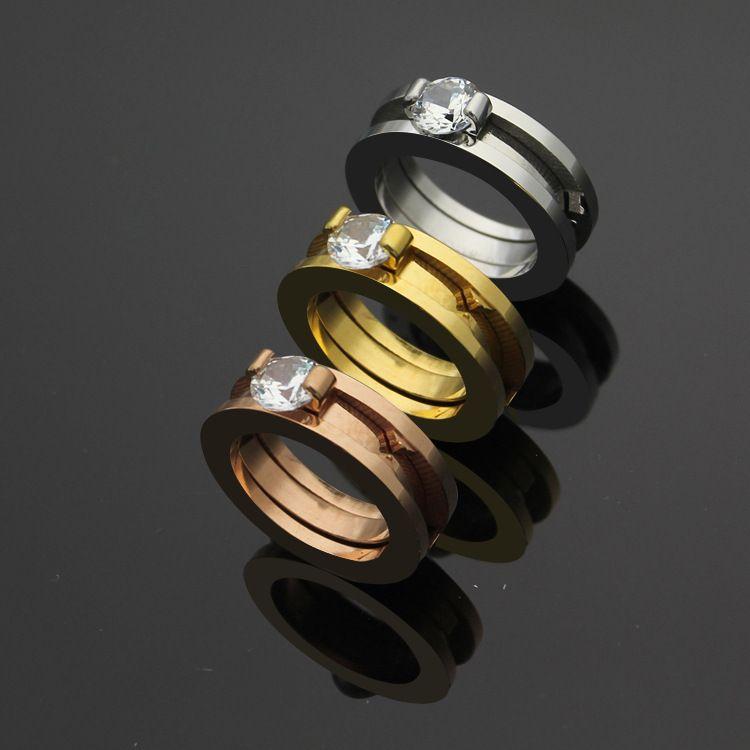 316L titanium aço anel de diamante de duas peças dois-em-um casal 18k homens e mulheres de ouro anel de jóias