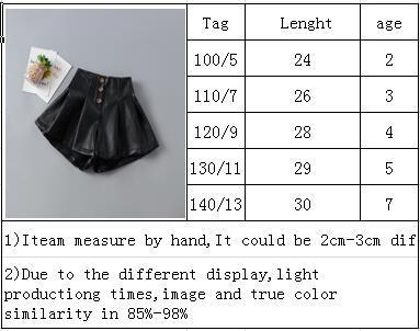 Bebê Shorts 2019 queda de couro preto curto Leggings Meninas moda infantil Casual Botões plissadas curtas Roupa Sweet Children